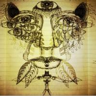 'Many eyes see you' blackbook ink doodle.