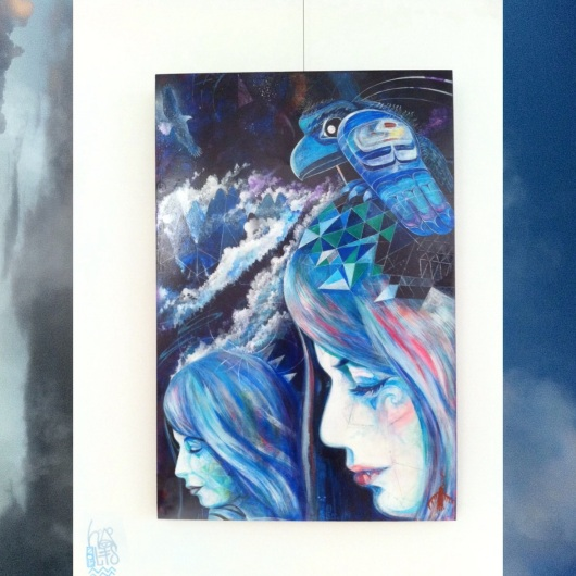 'IN between' on display at Essentia (a painting exploring dreamtime, blinking, morphic resonance, and what it is to be a modern Canadian as interpreted by this artist)