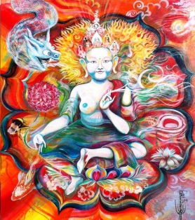 White Tara No.3 for Whistle, made as a commission piece for a friend who had travelled exstensively through Tibet, it is a Spirited painting, each mark a gesture for peace.