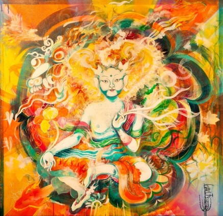 White Tara No.1 for Agnus, there are some paintings when my Spirit opens right up, this was one of them. Made for Agnus who moved on from this life, it was a canvas gifted to me by her bereaved partner. The image of the White Tara came to me in a meditation and so that is what I painted. It was a learning experience which involved researching Tibetan Art and meeting friend and mentor, Romio Shrestha, who is a 17th reincarnated Tibetan artist and all around amazing human, full of love and passion. Once completed I contacted the fellow who left me the canvas and invited him over for a viewing, turns out the last picture Agnus drew was of the White Tara. You can Romio's work at www.romioshrestha.com
