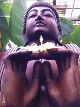 On my travels I seek places where I can sit in Peace, the Sacred Garden of Maliko on Maui is one of those places. This particular wooden statue is a study for 2 paintings to date, EarthBuddha (currently on display in Calgary at Mcc Yoga http://www.yogamcc.com) and Buddha of Compassion (for Luke)