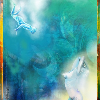 The Pearl Divers Dream...is a hybrid artowrk combining painting and digital art. I made beacuse I love the ocean in all its magic, mystery and saltiness. I would add I also love the folklore, the mermaids, and the possibility of an encounter with an underwater Goddess.