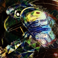 'the Trickster' analog to digital art (digital remix of a painting called 'IN between', on display at Essentia)