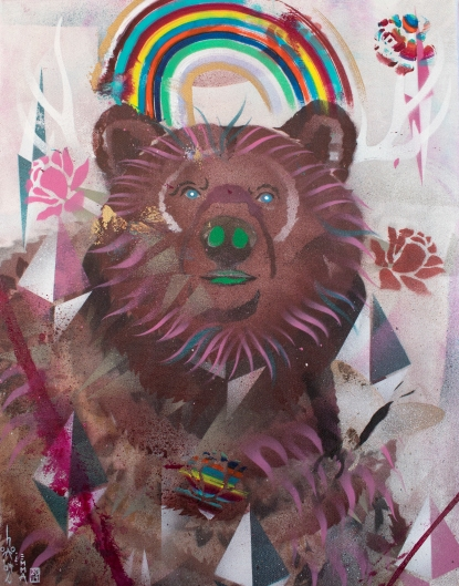 rainbow grizzly, made with the help of Emma, a 7 year old with a heart of gold who saw I was live painting and was more than willing to collaborate. (acrylic spray paint on canvas)