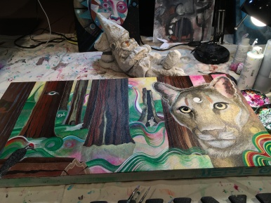 mountain lion WIP acrylic on canvas